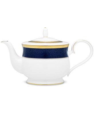 Odessa Cobalt Gold Tea Pot, 43 Oz.