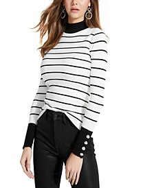 Rebekah Button-Sleeve Turtleneck Sweater
