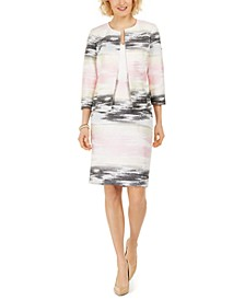 Ombre Jacquard Jacket and Slim Skirt
