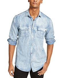 INC Men's Washed Utility Shirt, Created for Macy's