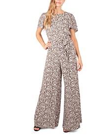 Petite Leopard-Print Woven Jumpsuit