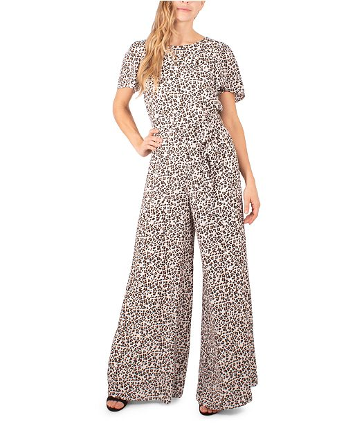 NY Collection Petite Leopard-Print Woven Jumpsuit