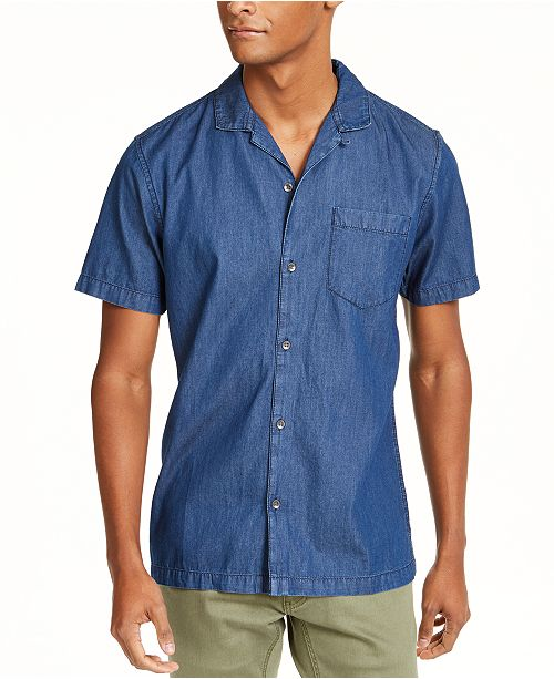 INC International Concepts INC Men's Camp Collar Denim Shirt, Created For Macy's