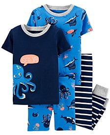 Baby Boys 4-Pc. Cotton Octopus Pajamas Set