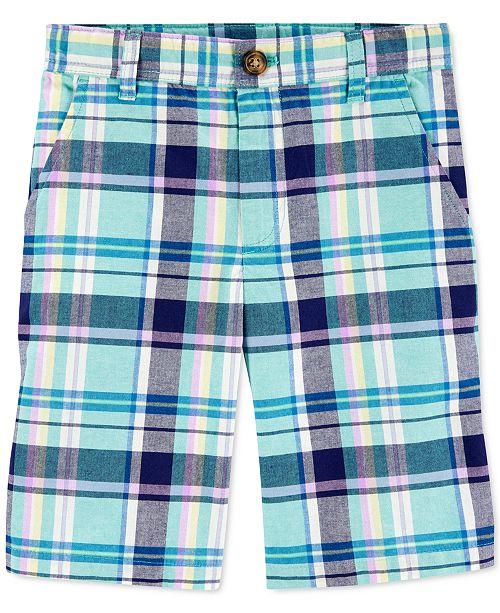 Carter's Little & Big Boys Plaid Flat-Front Cotton Shorts