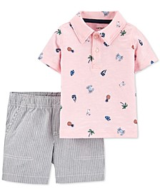 Baby Boys 2-Pc. Cotton Printed Polo Shirt & Striped Shorts Set