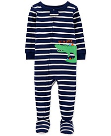 Baby Boys 1-Pc. Striped Alligator Footed Pajamas