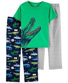 Little & Big Boys 3-Pc. Alligator Pajamas Set