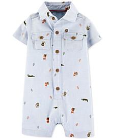 Baby Boys Cotton Animal-Print Chambray Romper