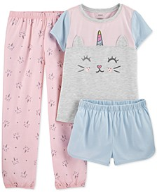 Little & Big Girls 3-Pc. Caticorn Pajamas Set