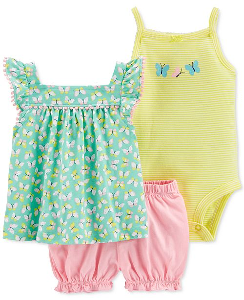 Carter's Baby Girls 3-Pc. Cotton Butterfly Top, Bodysuit & Bubble Shorts Set