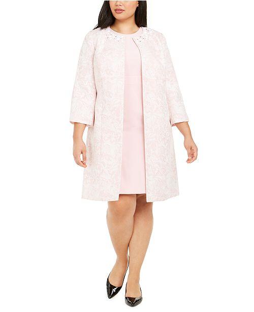 Kasper Plus Size Stretch Crepe Sheath Dress and Marble Jacket