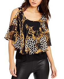 Stripe Cold-Shoulder Overlay Top, Created for Macy's