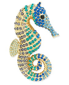 Gold-Tone Multicolor Pavé Seahorse Pin, Created For Macy's