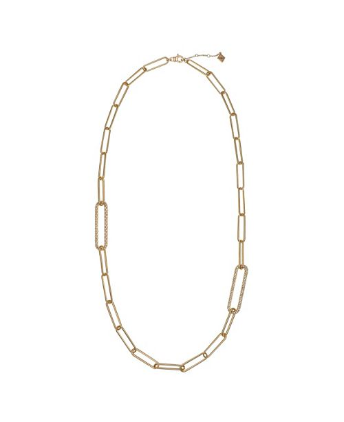 Christian Siriano New York Gold Tone Long Link Long Necklace with Pave Stone Accents