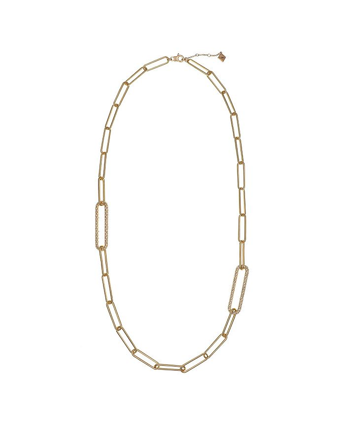 Christian Siriano New York - Gold Tone Long Link Long Necklace with Pave Stone Accents