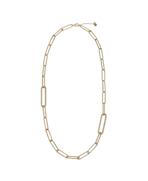Gold Tone Long Link Long Necklace with Pave Stone Accents