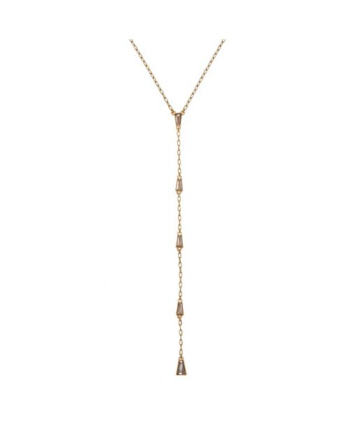 Christian Siriano New York Gold Tone Y Necklace with Baguette Stone Accents