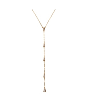 Gold Tone Y Necklace with Baguette Stone Accents