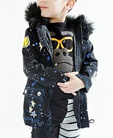 Toddler and Little Boys Fur Collar Galaxy Parka