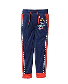 Toddler and Little Boys Red and Navy Tricot Track Pant