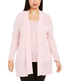 Plus Size Solid Open-Front Cardigan