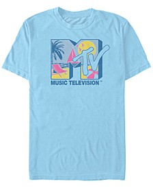 Men's Beach Neon Filled Logo Short Sleeve T- shirt