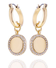 Pave Fire Essential Hoop with Charm Earring