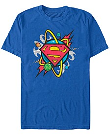 DC Men's Superman Galaxy Planet Logo Short Sleeve T-Shirt