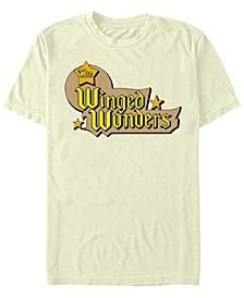 DC Men's The Winged Wonders Text Logo Short Sleeve T-Shirt