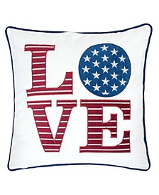 Love Independence Day Embroidery Square Decorative Throw Pillow