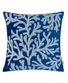 Coral Embroidery Square Decorative Throw Pillow