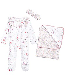 Baby Girls 2-Pc. Bunny Floral-Print Cotton Blanket & Cotton Printed Headband & Coverall Set, Created for Macy's
