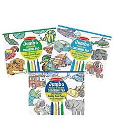 Melissa Doug Melissa Doug Jumbo Coloring Pad 3 - Pack Space, Sports, Animal, Vehicles