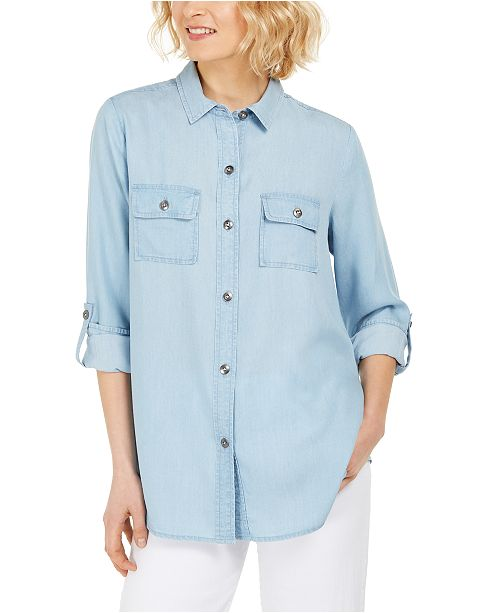 Charter Club Denim Utility Shirt, Created for Macy's