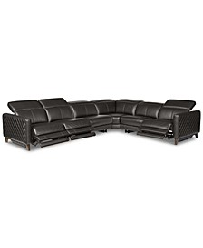 Jaconna 6-Pc. Leather Sectional with 3 Power Recliners, Created for Macy's