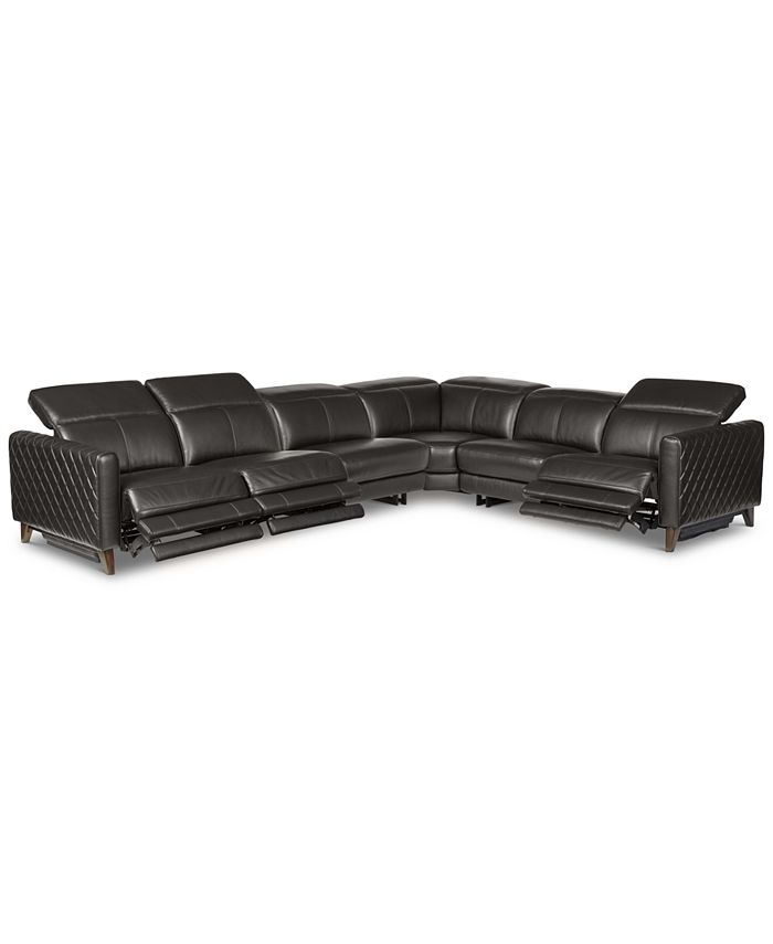 Furniture - Jaconna 6-Pc. Leather Sectional with 3 Power Recliners
