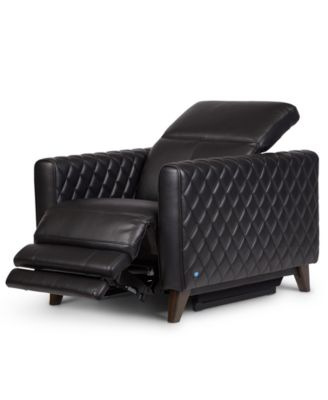 """Jaconna 34"""" Leather Dual Power Recliner, Created for Macy's"""