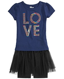 Little Girls Sequined Love T-Shirt & Tutu Bike Shorts, Created for Macy's