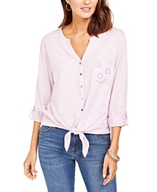 Petite Cotton Embroidered Tie-Hem Shirt, Created for Macy's