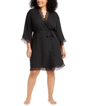 Plus Size Lace-Trim Chiffon Wrap Robe