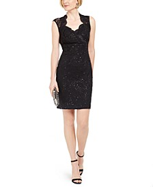 Sequin & Lace Sheath Dress