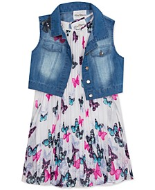 Big Girls 2-Pc. Denim Vest & Butterfly Shift Dress Set