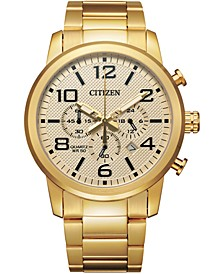 Men's Chronograph Quartz Gold-Tone Stainless Steel Bracelet Watch 42mm