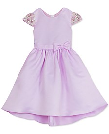 Little Girls Embellished-Sleeve Satin Dress