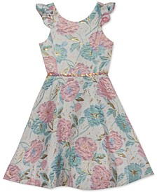 Big Girls Floral-Print Brocade Dress