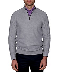 Men's Waffle Textured Quarter-Zip Sweater