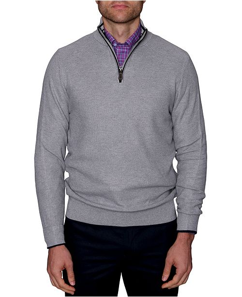 TailorByrd Men's Waffle Textured Quarter-Zip Sweater