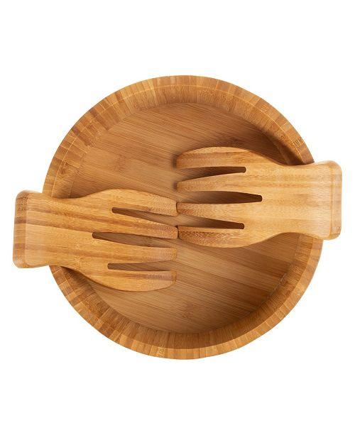 "Lavish Home Classic Cuisine 10.25"" Bamboo Salad Bowl With Utensils"