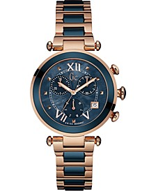 Gc Swiss Made Timepieces Women's Chronograph Lady Chic Blue Ceramic & Rose Gold-Tone Stainless Steel Bracelet Watch 37mm